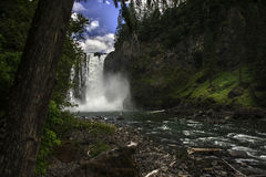 Snoqualmie Falls Dazzles in a Lush Washington Forest Royalty Free Stock Photo