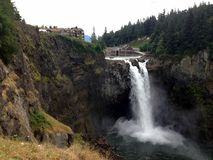 Snoqualmie Falls and the Lodge Royalty Free Stock Images