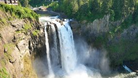 The Snoqualmie Falls in Northwest United States, located east of Seattle on the Snoqualmie River between Snoqualmie and Fall City. Washington stock footage