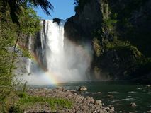 Snoqualmie falls rainbow Royalty Free Stock Images