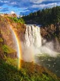 Snoqualmie Falls, Washington State. A rainbow develops as the sun moves across Snoqualmie Falls in Washington State Stock Photography