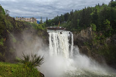 Snoqualmie valt beroemde waterval in Washington de V.S. Royalty-vrije Stock Foto's