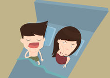 Snore husband annoying wife Royalty Free Stock Photo