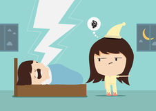 Snore man and woman angry Stock Photo