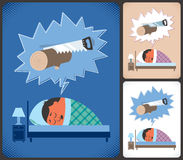Snoring. Cartoon illustration of snoring man in 3 color versions. No transparency and gradients used Stock Photos