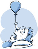 Snoring Control. A woman rigs a balloon device to help her stop snoring Royalty Free Stock Photo