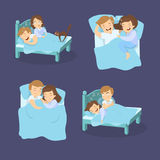Snoring couples set. Man and woman suffers from snore Stock Photos
