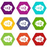 Snoring icons set 9 vector. Snoring icons 9 set coloful isolated on white for web Royalty Free Stock Image