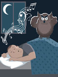 Snoring man and annoyed owl Stock Photo