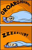 Snoring man cartoon comic illustration Royalty Free Stock Photography