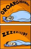 Snoring man cartoon comic illustration Royalty Free Stock Photography