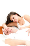 Snoring man. Couple in bed, men snoring and women can not sleep Stock Image