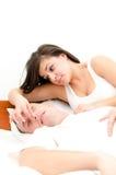 Snoring man Stock Image