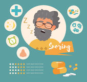 Snoring. Vector art on a white background. Cartoon. Isolated. Flat. Illustration for websites, brochures, magazines Medicine Infographics Royalty Free Stock Images