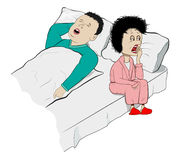 Snoring. Vector Humorous Illustration of Snoring Husband and Sleepy Wife Royalty Free Stock Images