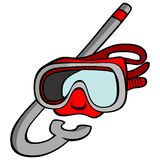Snorkel. Gray snorkel and red glasses Royalty Free Stock Photography