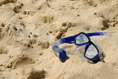 Snorkel. Goggle and snorkle in sand Stock Images