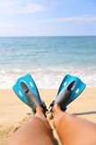 Snorkel beach fun foot selfie snorkeler relaxing Stock Image