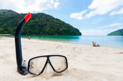 Snorkel and beach Stock Images