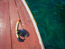 Snorkel on boat deck Royalty Free Stock Images