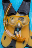 Snorkel, dive mask and flippers Royalty Free Stock Photos