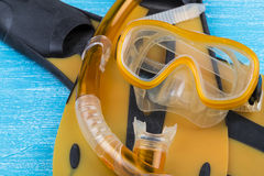 Snorkel, diving mask and flippers Royalty Free Stock Photo