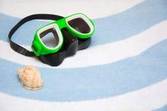Snorkel en shell Royalty-vrije Stock Afbeeldingen