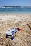 Snorkel equipment. On a beach Royalty Free Stock Photos