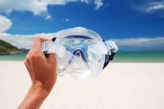 Snorkel equipment. Against beach and sky Stock Photography