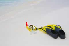Snorkel equipment on the beach Royalty Free Stock Photo