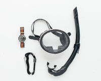Snorkel equipment with diving watch Stock Image