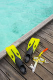 Snorkel equipment on the jetty Stock Photography