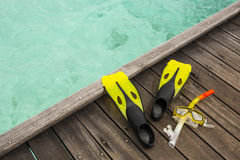 Snorkel equipment on the jetty Stock Photos