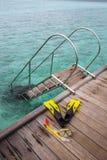 Snorkel equipment on the jetty Stock Photo