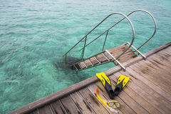 Snorkel equipment on the jetty Royalty Free Stock Image