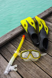 Snorkel equipment on the jetty Royalty Free Stock Photography