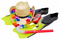 Snorkel equipment and straw hat Stock Photo