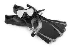 Snorkel, flipper och maskering för att dyka Arkivbild