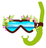 Snorkel with flowers summer concept Royalty Free Stock Photography