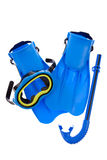 Snorkel Gear. A snorkel, mask and flippers isolated on a white background Stock Photos