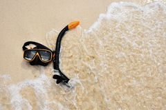 Snorkel goggle on the beach Stock Image