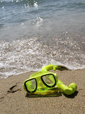 Snorkel goggles. On the shore on a summer day Stock Image