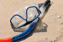 Snorkel And Goggles On Sand Royalty Free Stock Photo