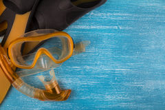 Snorkel kit. On a blue background Royalty Free Stock Image