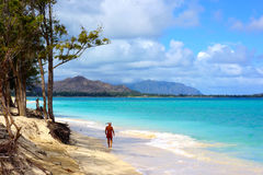 Snorkel Man walking on island beach Stock Images