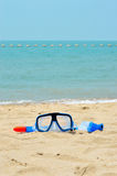 Snorkel mask on the beach Stock Photo