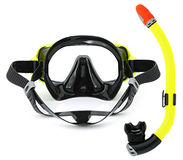 Snorkel and mask for diving. Isolated on white background Royalty Free Stock Photos