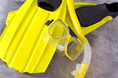 Snorkel Mask and Fins on Gray Royalty Free Stock Image