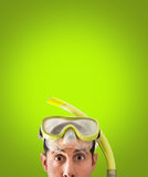 Snorkel mask looks surprised Stock Photography