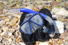 Snorkel and mask, Meganissi Royalty Free Stock Photos
